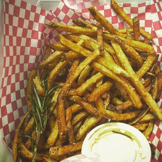 Garlic-rosemary fries with Sriracha mayo at Goods. Photo courtesy of Goods