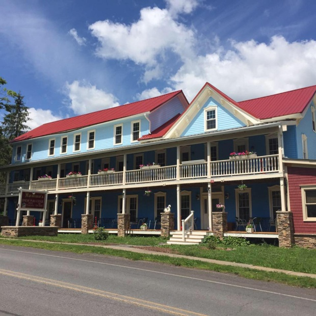 The 1865 building has been revamped into dog-friendly lodgings, a New American restaurant and a brewery. Photo courtesy of Hammo's.