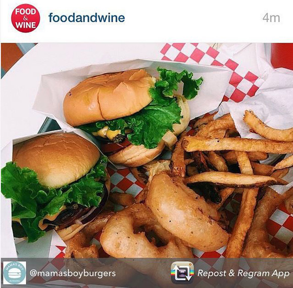 Food and Wine featured Mama's Boy Burgers on its Instagram feed last week.