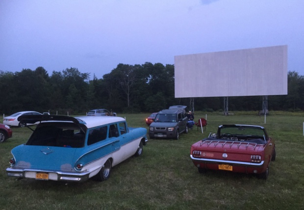 The drive-in hosted classic car owners for a showing of American Grafitti last month. Photo courtesy of Greenville Drive-I