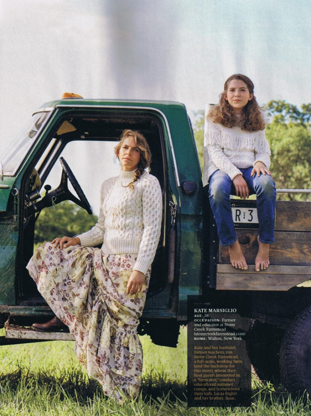 Kate Marsiglio and daughter Lucia, of Stony Creek Farmstead, as featured in the October issue of Real Simple.