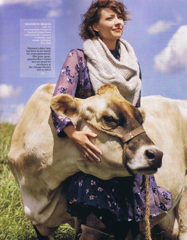 Cowbella's Shannon Mason, with one of her farm friends, as shown in the October issue of Real Simple magazine.