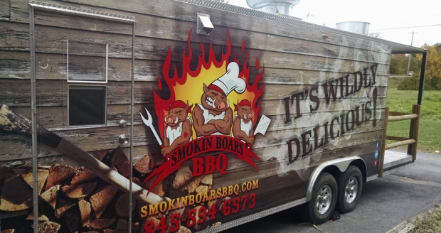 The Smokin Boars BBQ truck was born in April; the cafe is slated to open next month. Photo by Catskill Eats