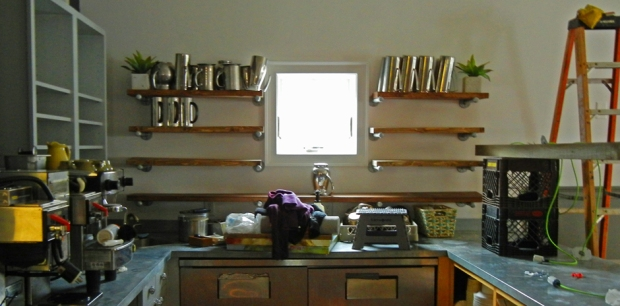 The open coffee bar at the rear of the main dining room has new shelving. Photo by Catskill Eats