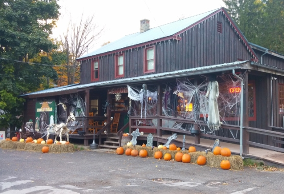 Halloween is a lot of fun in the Catskills. The Andes General Store is all dressed up for the holiday. Photo by Catskill Eats