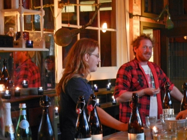 Partners Irene Hussey and Alex Wilson welcome guests at their new bar. Photo by Catskill Eats